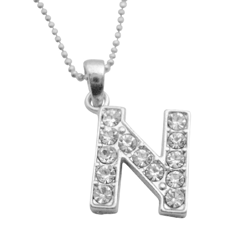 Cute Alphabet Pendant Necklace Letter N Fully Ebedded w/ Cubic Zircon
