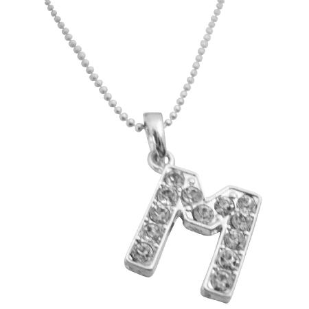 Exclusive Alphabet Pendant Necklace Letter M Fully Pendant Necklace