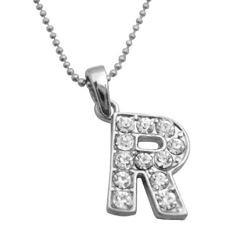 Sparkling Alphabet Letter R Fully w/ Cubic Zircon Pendant Necklace