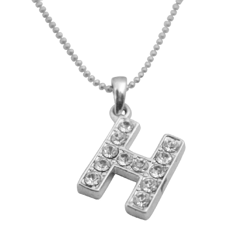 H Alphabet Letter H Fully Embedded w/ Cubic Zircon Pendant Necklace