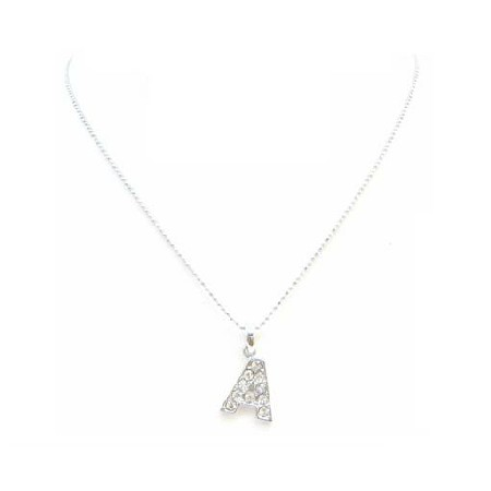 Alphabet Necklace Letter A Fully Embedded w/ Cubic Zircon Pendant