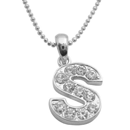 Shimmering Cubi Zircon Alphabet Pendant Letter S Pendant Necklace