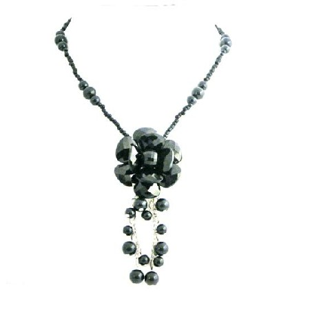Black Flower Stylish Jet Black Glass Flower Inexpensive Pearl Necklace