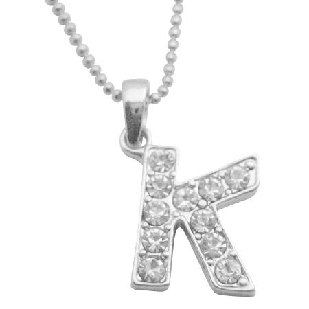 Stylish Jewelry Alphabet Jewelry Diamnate K Letter Pendant Necklace