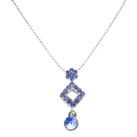 Xmas Gift Chrsitmas Pendant Necklace Blue Cubic Zircon Pendant