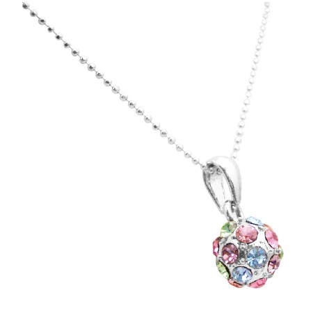 Multicolored Crystals Ball Round Pendant Holiday Christmas Gifts