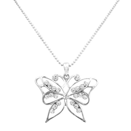 Classic Jewelry Timeless Tradition Diamante Butterfly Pendant Necklace
