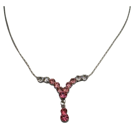 Pink & Clear Crystals V Shaped Drop Down Cute Dangling Necklace Gift