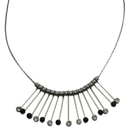 Gorgeous Glistens Vertically Drop Down Necklace Clear & Jet Crystals