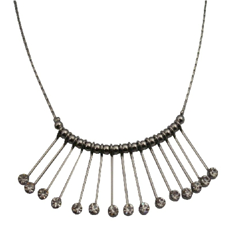 Dazzling Sparkling All Clear Crystals Stud Silver Metal Prom Necklace