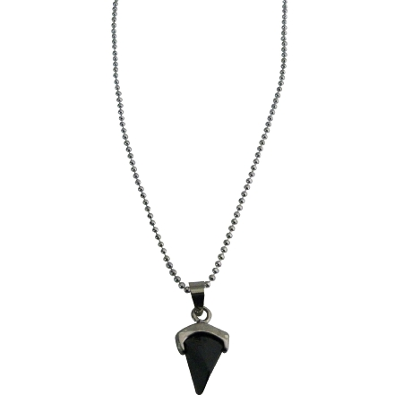 Dazzling Black Pendant Sleek Dainty Rhodium Chain Prism Shape Necklace