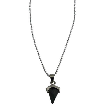 Dazzling Black Pendant Sleek Dainty Rhodium Chain Prism Shape Necklace