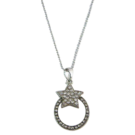 Stylish Embedded Rhinestones Star Pendant Christmas Jewelry Necklace