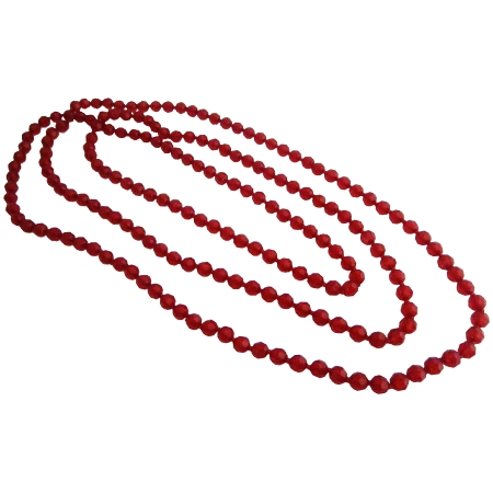 Summerish Long Necklace Beach Red Multifaceted Beads Fun Necklace Gift