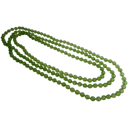 Long Green Peridot Multifaceted Glass Beads Fun Wearing Necklace Gift