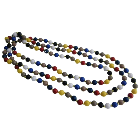 MultiColored Beads w/ Gold Beads Spacer 88 Inches Long Necklace