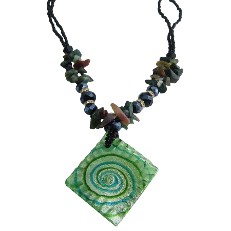 The Finest Murano Glass Green Pendant w/ Ocean Jasper Nuggets