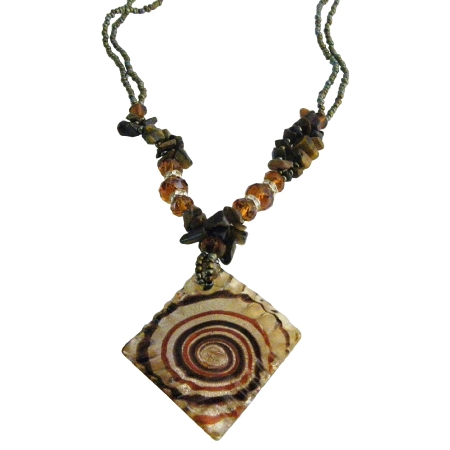 Artistic Murano Square Pendant Tiger Brown Stone Chips Necklace