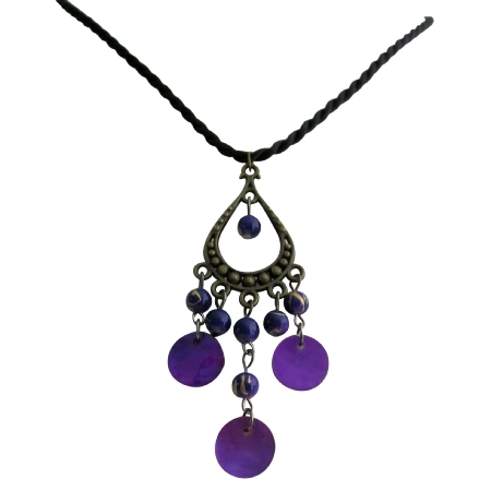 Stunning Stylish Necklace In Purple Shells All Occasion Gift