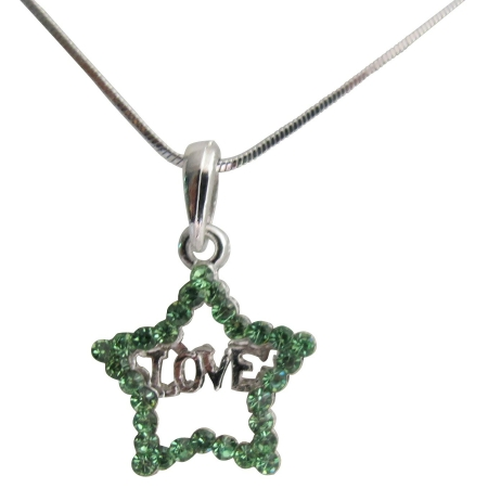 Valentine Gift To Your Love Star Pendant with Word Love Necklac