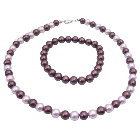 Affordable Wedding Party Jewelry Lite & Dark Purple Pearls Necklace