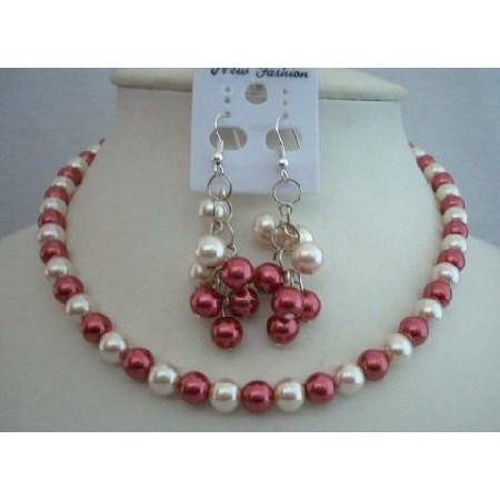 Synthetic Two Color Pearl Jewelry Cream Red Dangling Earrings Jewelry