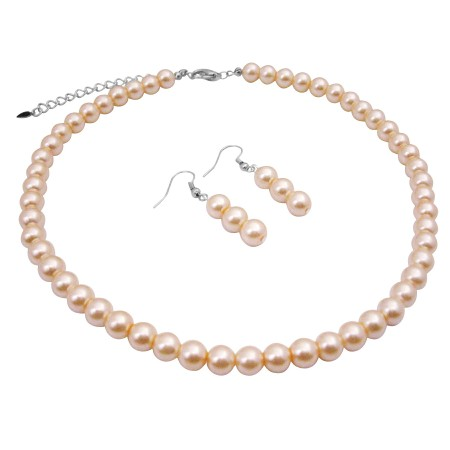 Synthetic Peach Pearls Choker Necklace Set 16 Inches Dangling Earrings