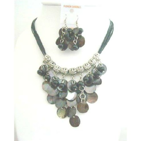 Black Mop Shell Dangling w/ Synthetic Pearl Bead Threaded Necklace Set