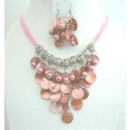 Mop Shell NEcklace Set w/ Synthetic Pearls Bead Threaded Necklace Sets