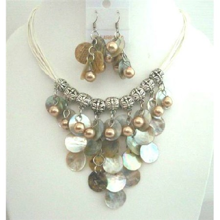 Natural Mop Shell Dangling Synthetic Pearl Bead Threaded Necklace Set
