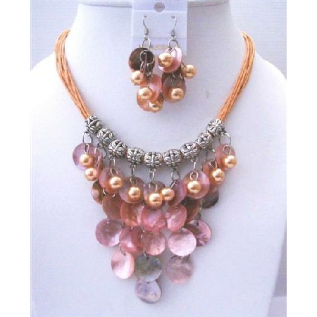 Peach Shell Multi Threaded Strings w/ Mop Shell & Pearls Jewelry Set