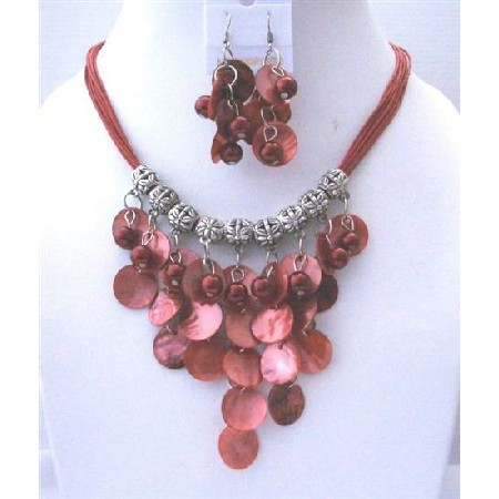Pink Redish Mop Shell Pearl Bead Multi Threaded Strands Necklace Set
