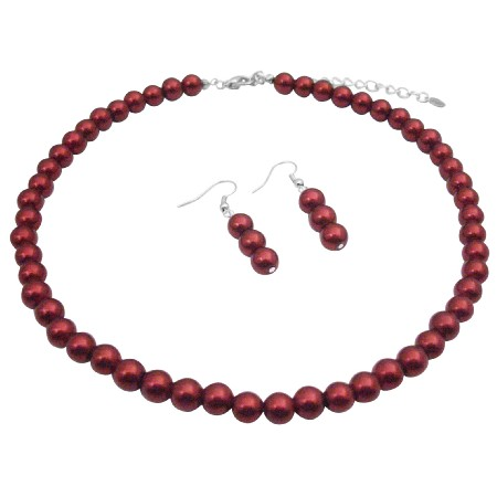 Red Passionate Adorable Pearls Necklace Earrings Set Wedding Jewelry