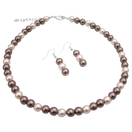 Bridal Party Jewelry Bronze Pearls & Cream Beautiful Pearls Necklace
