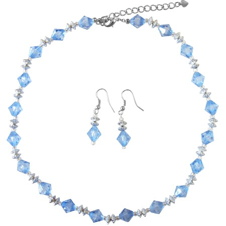 Blue Crystals w/ Beautiful Spacer Cheap Jewelry Necklace & Earrings