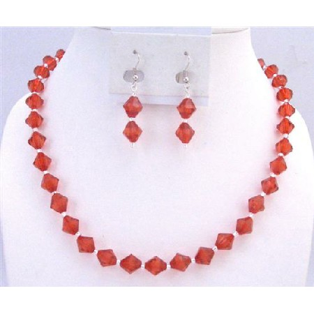 Red Crystals Silver Beads Spacer Cheap Jewelry Necklace Earrings Set