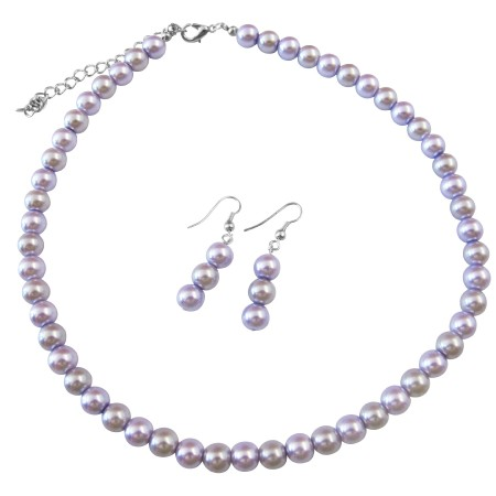 Inexpensive Light Lilac & Victorian Lilac Wedding Pearls Necklace Set