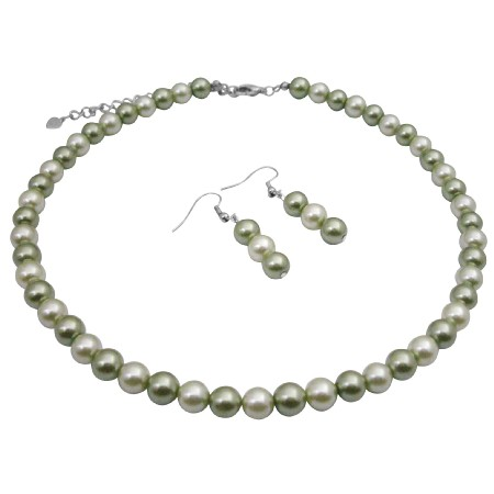 Wedding Customize Under $5 Necklace Honeydew & Green Pearls Jewelry