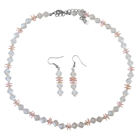 Prom Wedding Bridal Jewelry Set Clear Crystals w/ Peach Daisy Spacer