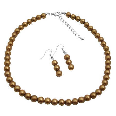 Inexpensive Reasonable Wedding Jewelry Latte Pearls Necklace Earrings