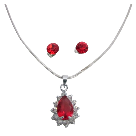 Exquisite Red Peardrop CZ Necklace and Earring Bridesmaid Jewelry Set