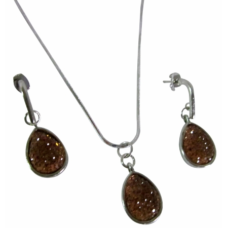 Brown Vermeil Pear Cut Pendant Cute Party Favors Wedding Jewelry Set