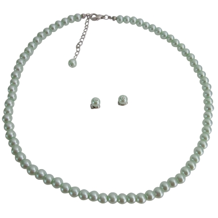 Flower Girls Jewelry Junior Bridesmaid Jewelry In Lite Green Pearls