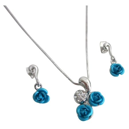 Christmas Gift Idea w/ Gift Box Turquoise Rose Diamante Pendant Set