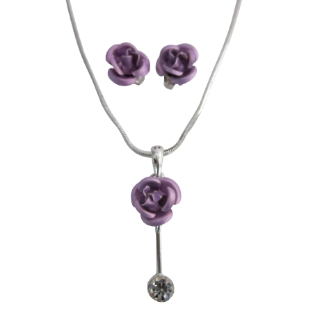 Christmas Gifts Lilac Rose Cute Rhinestone Stud Necklace Earrings Set
