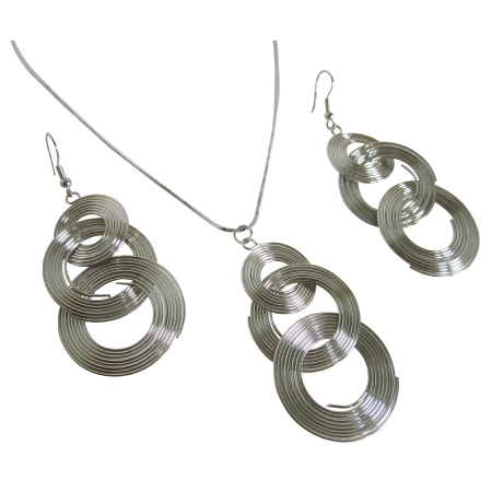 Circle Round Drop Ring Dangle Pendant & Earrings Alloy Silver