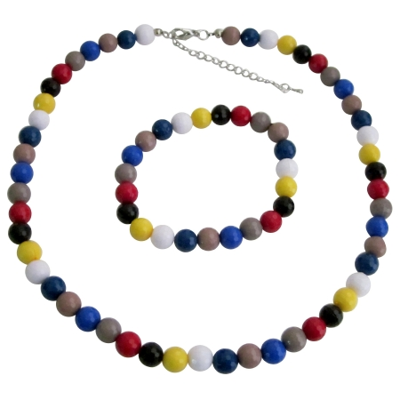 Multicolor Faceted Beads Necklace & Bracelet Birthday Return Gift