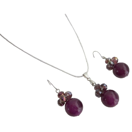 Bridesmaid Cool Jewelry In Purple Color Necklace Earrings