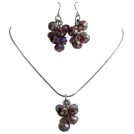 Girls Return Gift Amethyst Beads Pendant Earrings Jewelry Set