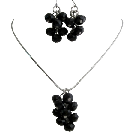 Jet Crystals Bunch Grape Style Jewelry Necklace Earrings Set